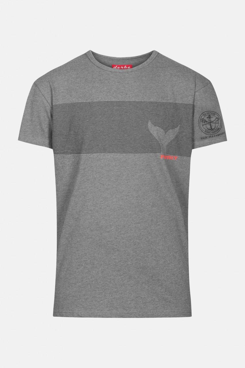 Derbe Sonus Fluctus Herren Shirt Gots Organic Sea Shepherd Grey Melange Grau Wellen Flosse