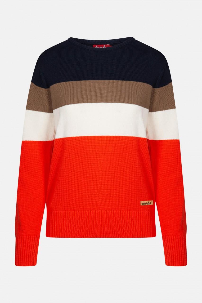 Derbe Striepe Damen Pullover Rot Orange