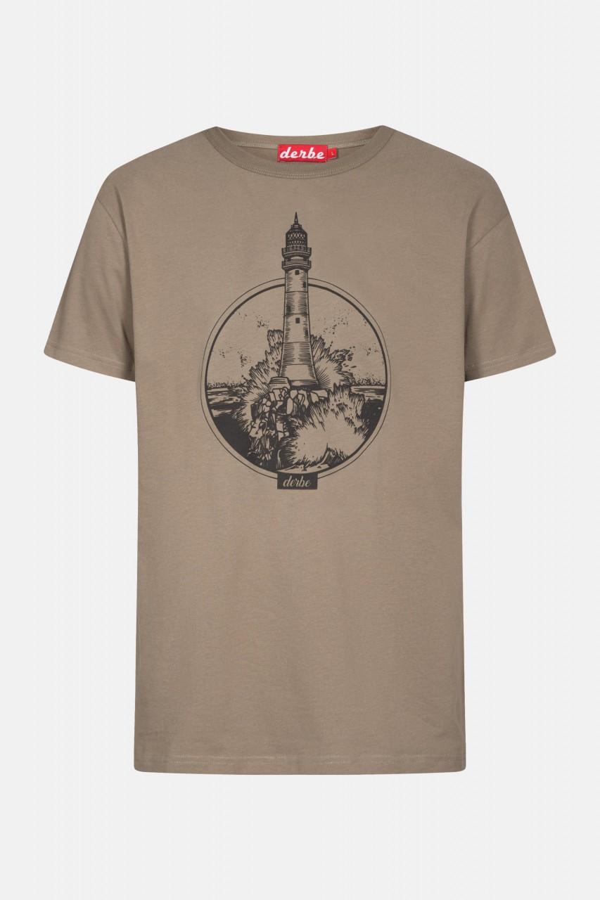Derbe Leuchtturm Felsen Herren T-Shirt Brindle Braun