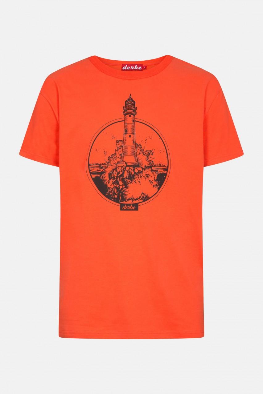 Derbe Leuchtturm Herren T-Shirt Cherry Tomato Rot Orange