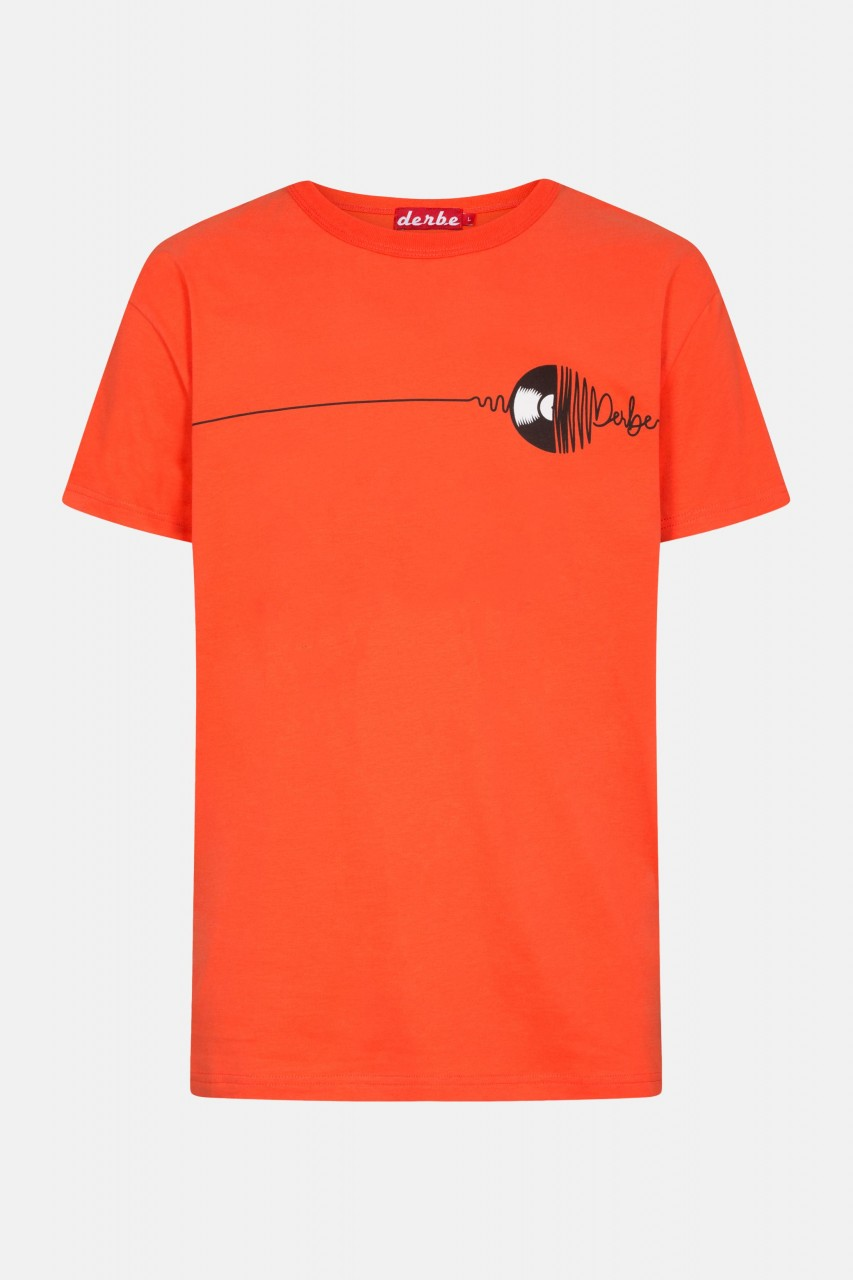Derbe Vinyl Herren T-Shirt Schallplatte Rot Orange